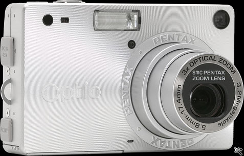Pentax Optio S front view